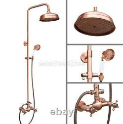 Antique Red Copper Bathroom 8 Rainfall Shower Head Shower Faucet Set erg524