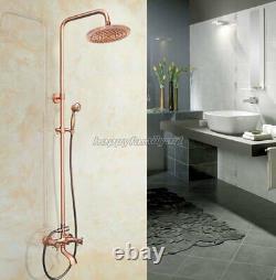 Antique Red Copper Bathroom Rain Shower Head Faucet Set Bathtub Mixer Tap yrg513