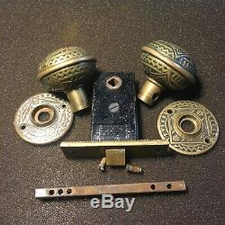 Antique Set Of Barrow Solid Bronze Door Knobs & Rosette Backplates And Latch