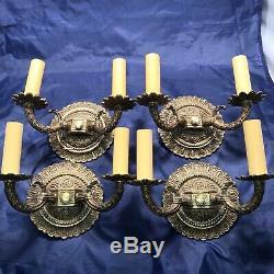 Antique Set Of Four 4 Petite Spanish revival brass sconces 49A