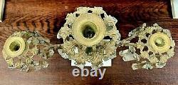 Antique Solid Brass Marble & Glass Prism Girandole 3 piece set Vase Floral Motif