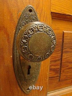 Antique Stunning Iron Art Nouveau Door Knob Set Lock Brass Back Plates