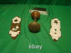 Antique Stunning Iron Door Knob Set With Plates And Corbin Lock