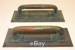 Antique VTG Brass Art Deco Door Pull Handle Set Heavy Pair Knobs Large Nouveau
