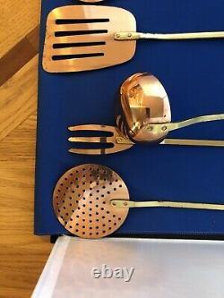 Antique VTG Set Of 5 Brass Copper Utensils Skimmer, Fork, Spatula, Ladle