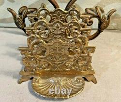 Antique Victorian Solid Ornate Brass Napkin Mail Letter HOLDER DESK set OFFICE