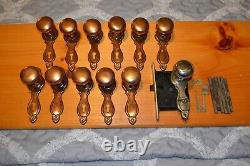 Antique Vintage Aesthetic 6 Set Of Brass Door Knobs And Face Plates D13