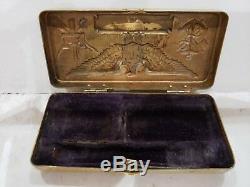 Antique / Vintage Brass GILLETTE SERVICE SET Case WWII / Military