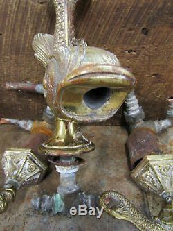 Antique Vintage Brass Koi Fish Phylrich Bathroom Bathtub Faucet Set with Handles