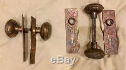 Antique Vintage Brass Ornate Door Knob Set with Plates