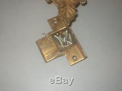 Antique Vintage Commercial Hotel Ornate Brass Door Knob Set Back Plates 6/6/1899
