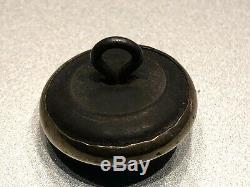 Antique Waistcoat Whippet Dog Button, Glass Set In Brass, Caribbean Blue, 5/8