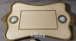 Antique Wedgwood Porcellane Cameo Vanity Set Brass Filigree Mirror Tray Bradh
