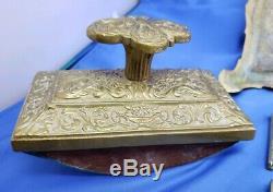 Antique bronze desk set inkwell DL Depose Belgium