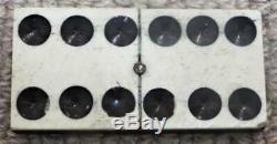 Antique c1865 Civil War Era Box Set of Bone & Ebony Dominoes with Brass Spinners