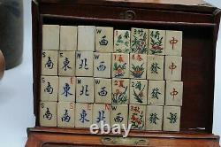Antique c1900 Dovetailed Wooden Brass Bound Chinese Mahjong Set