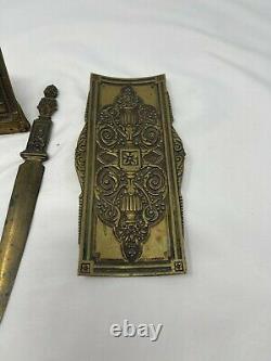 Antique collectible ornate Brass desk set Bradley & Hubbard B&H Unique and Rare