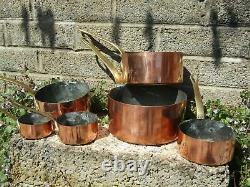 Antique copper and brass cooking saucepans genuine French graduated set of 6