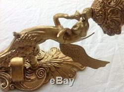 Antique large set of four french mermaid angel wall lights