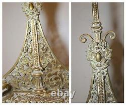 Antique ornate 1800's Victorian bronze cast iron fireplace tool set poker brass