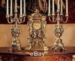 Antiqued Grand 20 Chateau Chambord Clock and Candelabra Ensemble Set