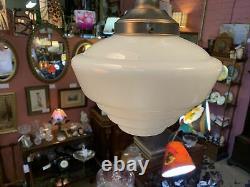 Art Deco 1930's 1940s Milk Glass Empire Glass Shade And Brass Rod Set