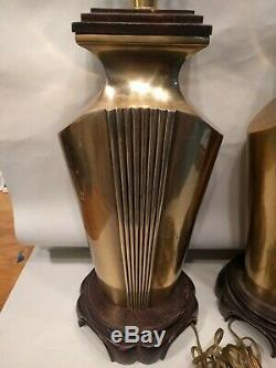 Art Deco Brass table lamps Fredric Cooper pair beautiful set 24 tall