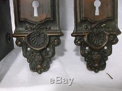 Art Deco Ornate Antique Brass Victorian Door Knob Set Back Plates Lock 15