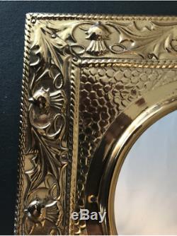 Arts and Crafts Movement Scottish Brass Clothes Brush and Mirror set Circa 1880