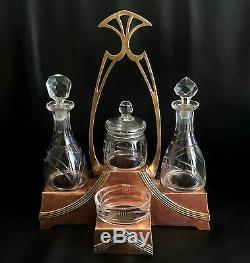 Arts & crafts set table copper brass WMF oil vinegar pepper salt art nouveau