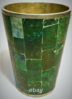 Azurite Gem Stone Mosaic Inlay Brass Cups Set of 4 Tumblers Vintage MCM Mexico