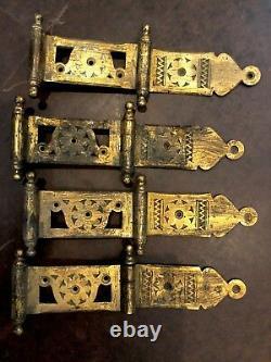 BR4 Antique Eastlake Set Of Four Brass Hinges