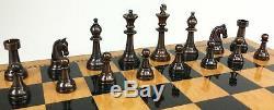 BRASS METAL Antique Bronze & Silver Classic Staunton 3.5 Chess Men Set NO BOARD