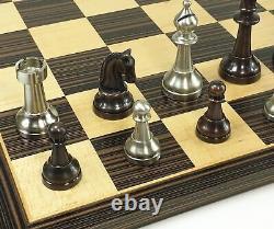 BRASS METAL Antique Bronze & Silver Classic Staunton Chess Set W 17 Ebony Board