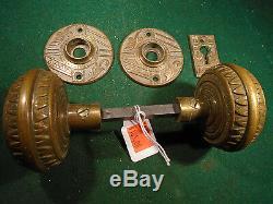 BRITTAN GRAHAM & MATHES DOOR KNOB SET, BRASS, withESCUTCHEONS BLUMIN F-11510(7830)