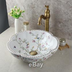 Bathroom Antique Brass Mixer Faucet+Wavy Ceramic Basin Vanity Sink+Pop drain Set