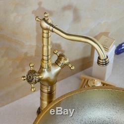 Bathroom Ceramic Gold Vessel Basin Sink&Antique Brass Faucet Mixer Tap Combo Set