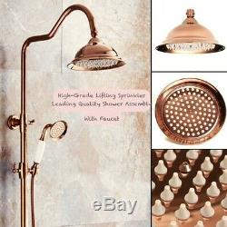 Bathroom Rain Shower Faucet Set Bath Tub Mixer Tap Antique Red Copper