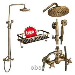 Bathroom Shower Faucet Set Rainfall Head Fixture with Shelf Antique Brass