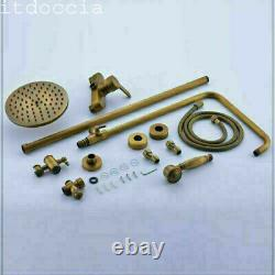 Bathroom Shower Mixer Taps System Set, 8 inch Rainfall Shower Head Antique Brass