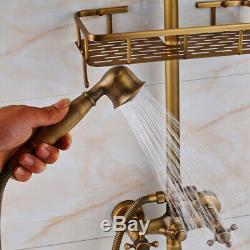 Bathtub Bathroom Rain Shower Faucet Set Stacks Handheld Mixer Tap Antique Brass