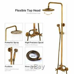 Bathtub Shower Faucet Set Wall Mount Shower Rod Kits Antique Brass Rain Head Tap