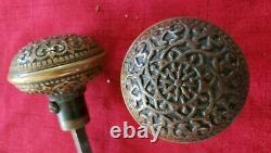 Beautiful Antique Brass Bronze Door Knobs Set Victorian Eastlake Russell Erwin