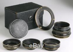 Berthiot Trousse Eurygraphe antique casket lens set f/ wood&brass cameras Paris