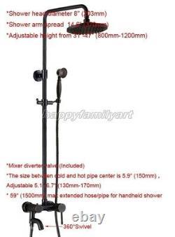 Black oil Antique Brass Bathroom Rainfall Shower Faucet Set Tub Mixer Tap yrs362