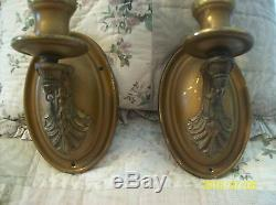 Brass Gilt Cast Gold Antique Electric Candle Wall Sconce Matching Set 2 Lights