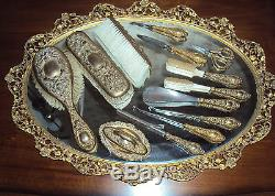 Brass Repousse Gold Tone Antique Victorian 14 Pc Vanity Set Marked Essex
