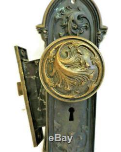 CAST BRASS ANTIQUE VICTORIAN FRONT ENTRY DOOR KNOB SET + BACK PLATE & LOCK b