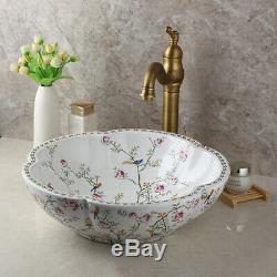 Ceramic Basin Bowl Vanity Vessel Sink Antique Brass Mixer Faucet Drain Combo Set