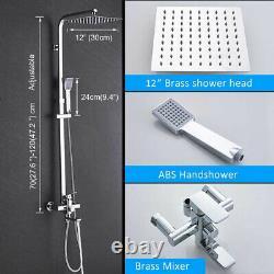 Chrome Shower Tap System 12 Rainfall Shower Head Handheld Shower Mixer Taps Set